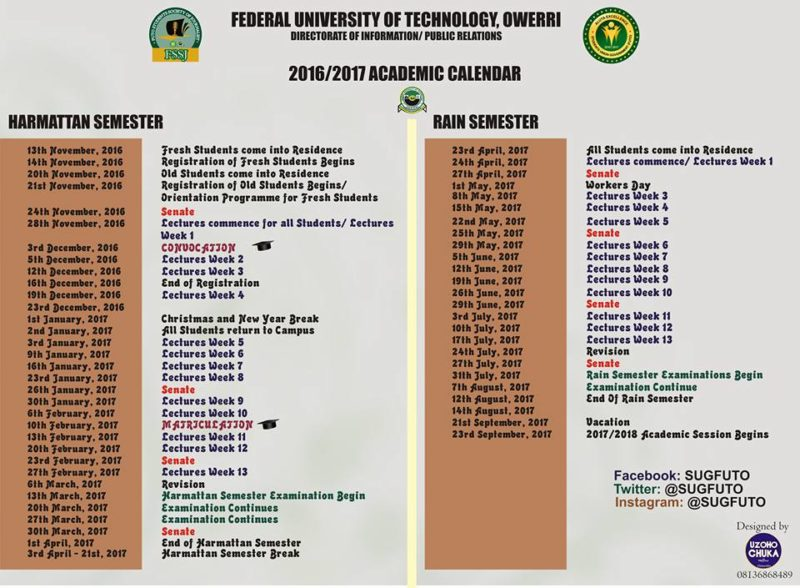 futo academic calendar 2016/2017