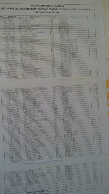 fugashua third (3rd) batch admission list
