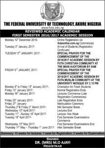Futa academic calendar