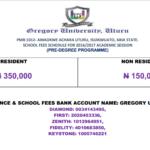 Gregory university Pre-degree school fees