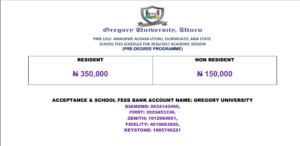 Gregory university Pre-degree school fees