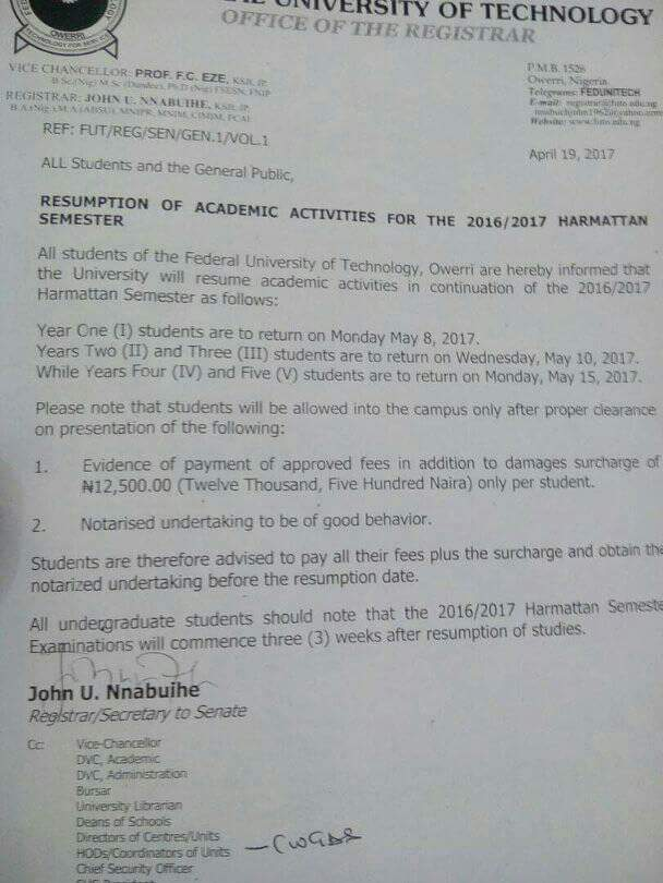 Futo resumption notice