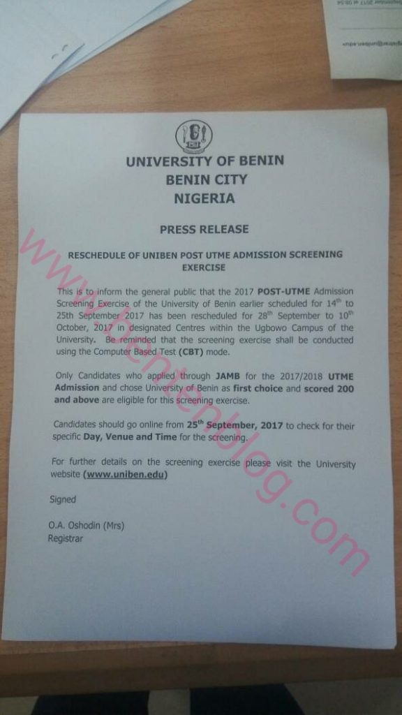 uniben screening date