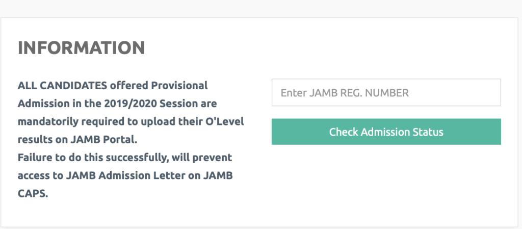AE FUNAI Admission list checking page