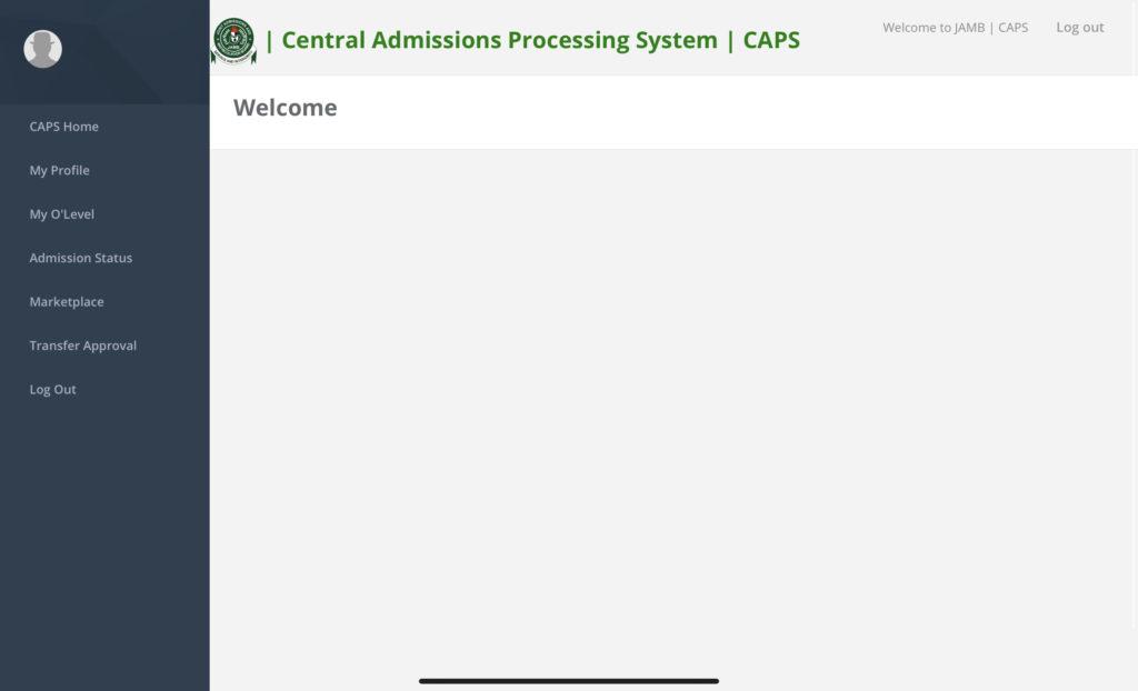 JAMB CAPS Portal Home after login
