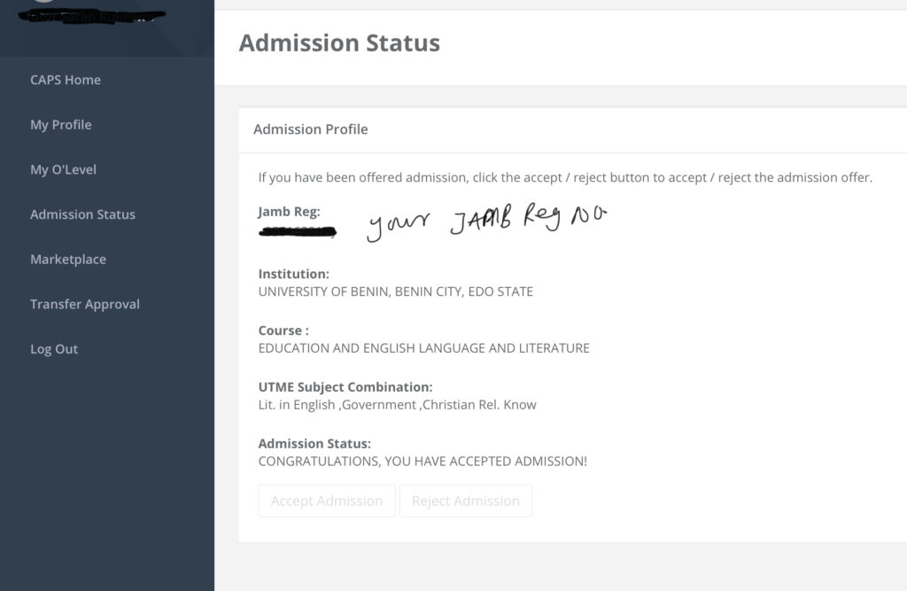 Example of JAMB Caps successful admission