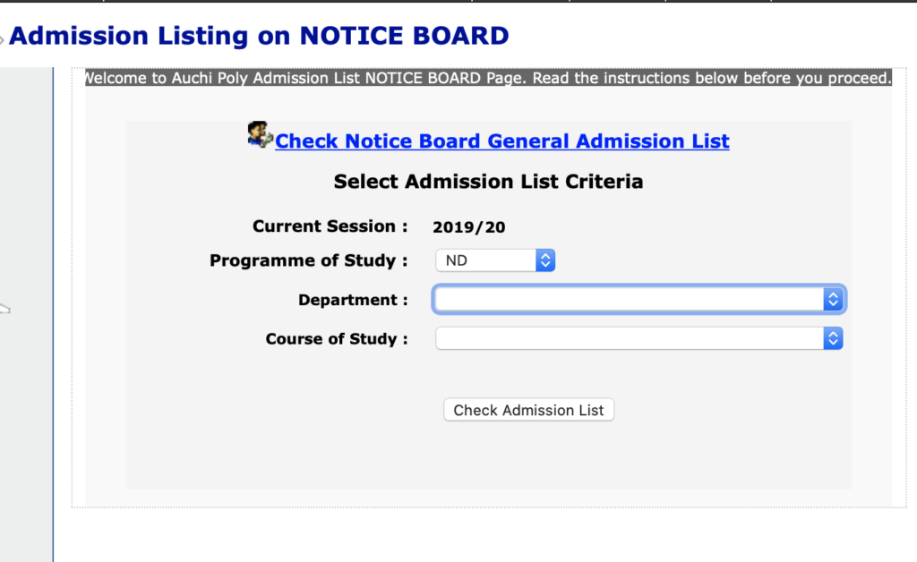 This page helps candidates to check AUCHI Poly admission status