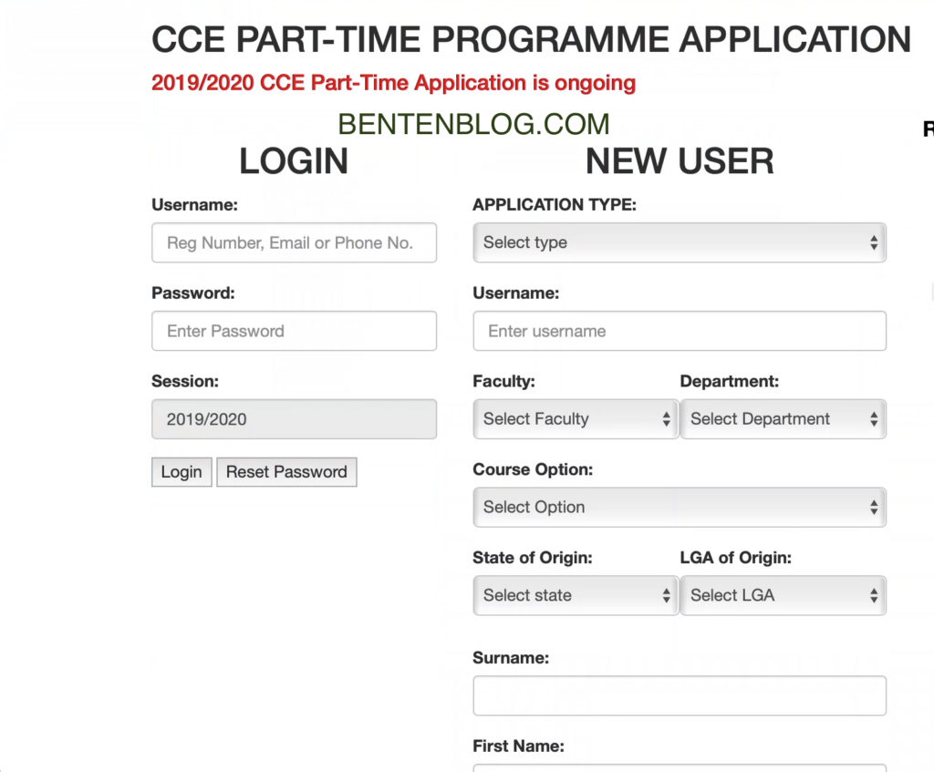 UNIPORT CCE part time form, admission form page