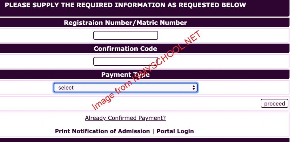 futa e-portal login page