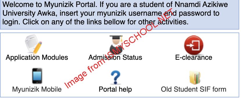 UNIZIK portal login options