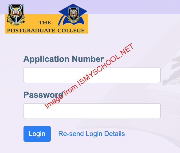 UI postgraduate (pg) portal login page