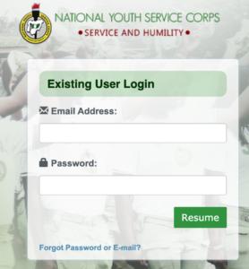nysc portal login page
